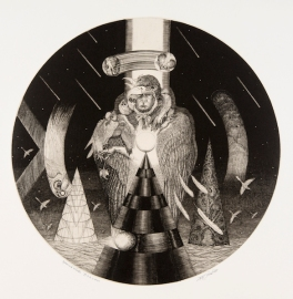 King of the Empyrean 40cmφ Burin Mezzotint