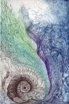 Fluid of Origin Ⅱ 30×20cm Copper engraving, One edition multi-colour printing