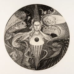 Melancholia of a deep ocean 40cmφ Copper engraving