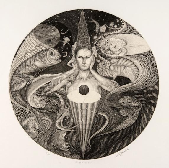 Melancholia of a deep ocean 40cmφ Copper engraving