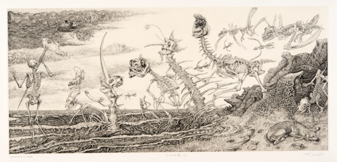 Day dream of a dog 27,5×60cm Copper engraving, Dry point