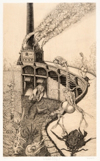 Day dream of a dog・an incinerator 60×36,5cm Copper engraving