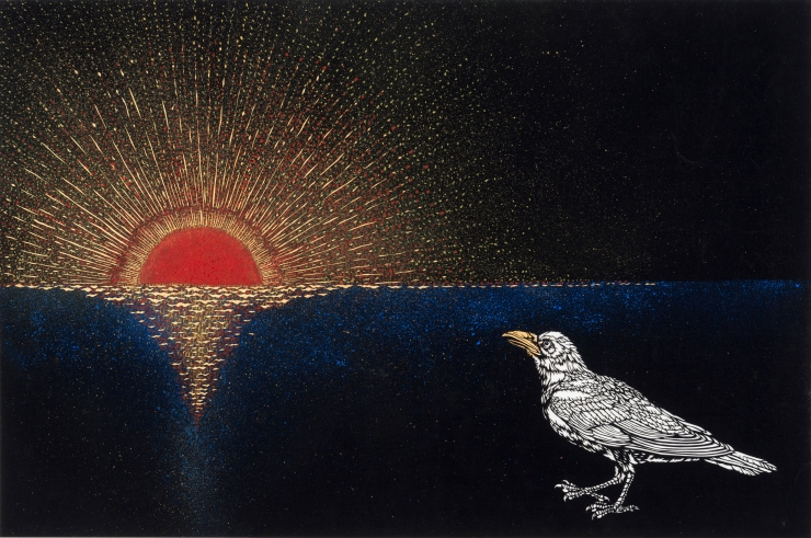 2「太陽を見つめるワタリガラス」
